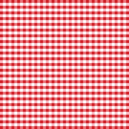Seamless Pattern, Red and White Gingham Check Background