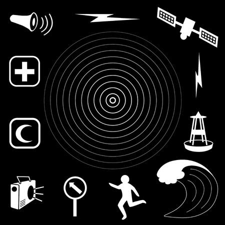 d�tection: �picentre du s�isme tsunami ic�nes, satellite et la transmission, la bou�e de d�tection des tsunamis, vagues de l'oc�an, personne qui fuit, signe parcours d'�vacuation, de la radio, les services d'aide d'urgence, la sir�ne de la d�fense civile EPS8 compatibles Illustration