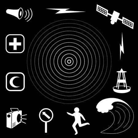 Tsunami Icons  Earthquake epicenter, satellite and transmission, tsunami detection buoy,    ocean waves, fleeing person, evacuation route sign, radio, emergency aid services, civil defense siren  EPS8 compatible   Vector
