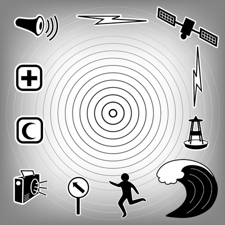 epicenter: Tsunami Icons  Earthquake epicenter, satellite and transmission, tsunami detection buoy, ocean waves, fleeing person, evacuation route sign, radio, emergency aid services, civil defense siren  EPS8 compatible