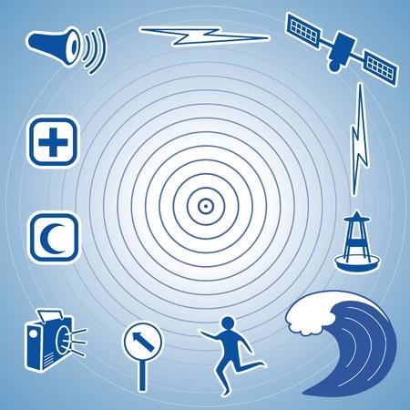 d�tection: �picentre du s�isme tsunami ic�nes, satellite et la transmission, la bou�e de d�tection des tsunamis, vagues de l'oc�an, personne qui fuit, itin�raire d'�vacuation, signe, � la radio, les services d'aide d'urgence, la sir�ne de la d�fense civile EPS8 compatibles