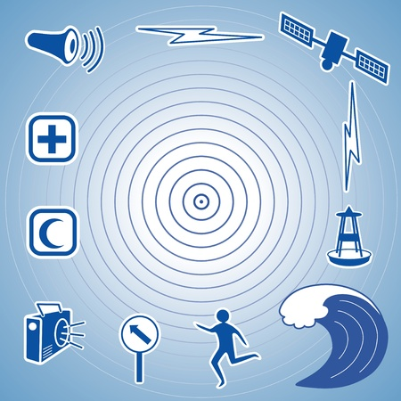 oceanography: Tsunami Terremoto Icone epicentro, satellite e la trasmissione, boa di rilevazione dello tsunami, le onde dell'oceano, persone in fuga, via di evacuazione, segno, radio, servizi di assistenza di emergenza, sirena difesa civile EPS8 compatibile