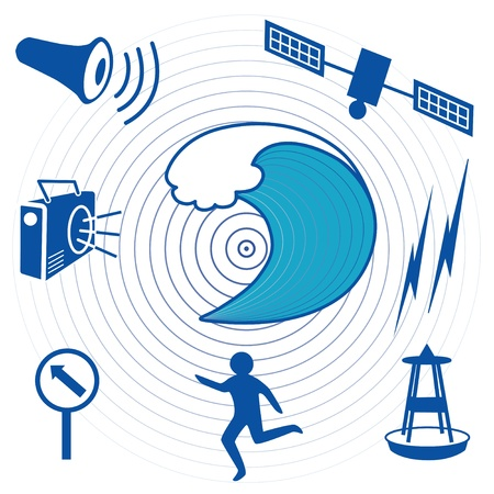 detection: Tsunami Icons  Earthquake epicenter, ocean waves, satellite and transmission, tsunami detection buoy, fleeing person, evacuation route, sign, radio, civil defense siren  EPS8 compatible  Illustration