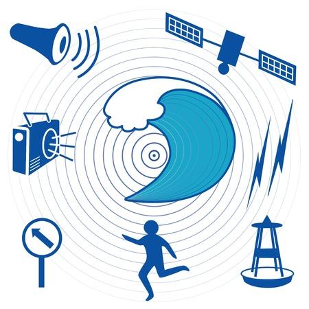 oceanography: Tsunami Terremoto Icone epicentro, le onde dell'oceano, e la trasmissione via satellite, boa di rilevamento dello tsunami, in fuga persona, percorso di evacuazione, segno, radio, sirena protezione civile EPS8 compatibile