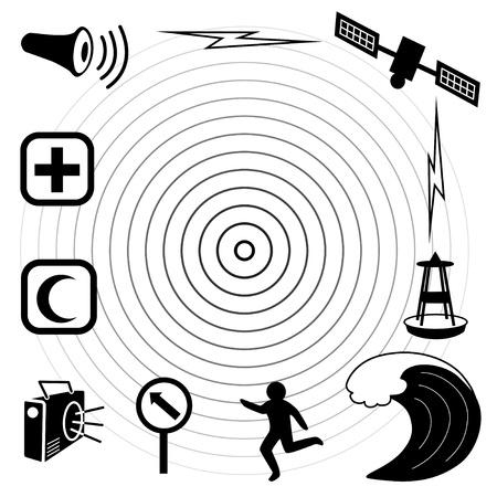 Tsunami Icons  Earthquake epicenter, satellite and transmission, tsunami detection buoy, ocean waves, fleeing person, evacuation route sign, radio, emergency aid services, civil defense siren  EPS8 compatible