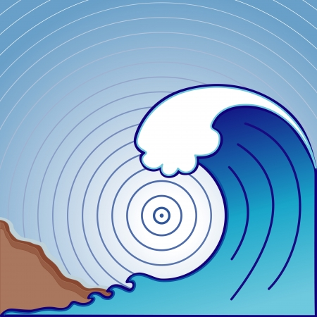 Giant tsunami ocean wave, landslide with earthquake epicenter  EPS8 compatible  Vector