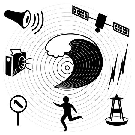 Tsunami Icons  Earthquake epicenter, ocean waves, satellite and transmission, tsunami detection buoy, fleeing person, evacuation route sign, radio, civil defense siren  EPS8 compatible