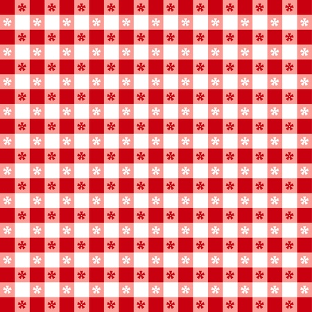 on the tablecloth: Seamless tablecloth pattern, red gingham check  EPS8 file includes pattern swatch that will seamlessly fill any shape  For picnics, restaurants, cafes, bistros, home decorating, arts, crafts, scrapbooks, albums