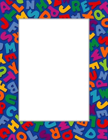 アルファベット フレーム、青色の背景色