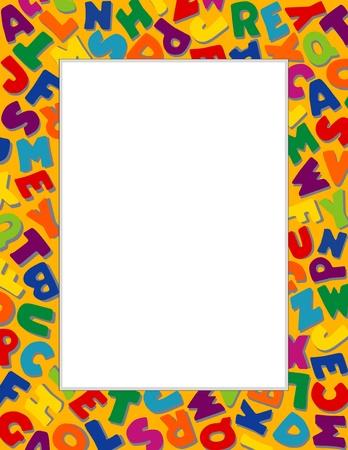アルファベット フレーム、ゴールドの背景  イラスト・ベクター素材