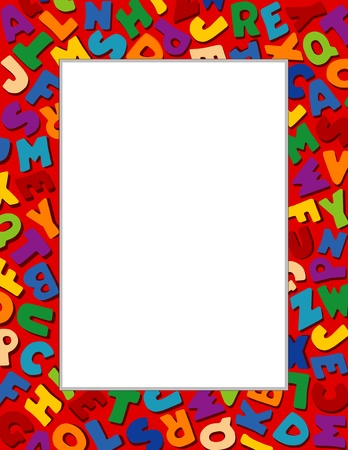 nursery school: Alphabet Frame, Red Background