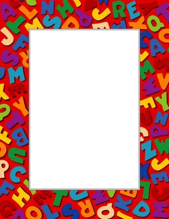 stationery border: Alphabet Frame, Red Background