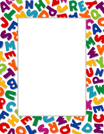 nursery education: Alphabet Frame, White Background Illustration