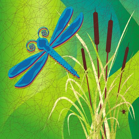 Marsh, Cattails, Dragonfly, Batik Pattern Fabric Style Vector
