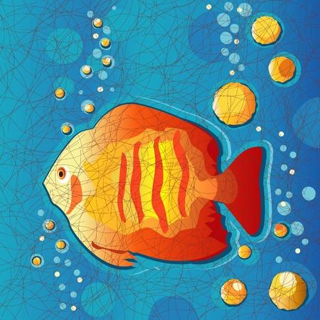 열대 물고기, 수중, 바틱 패턴 패브릭 스타일 일러스트