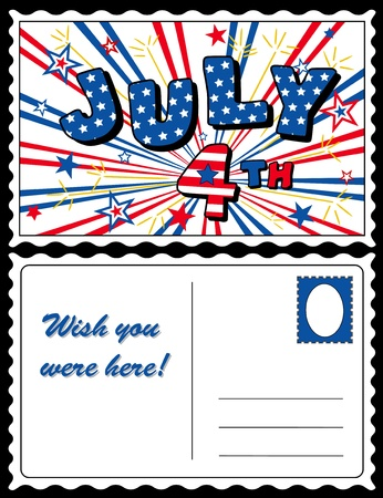 Postcard, July 4 Stars and Stripes Vector