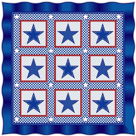 Stars and Stripes Quilt, Red, White and Blue Vector