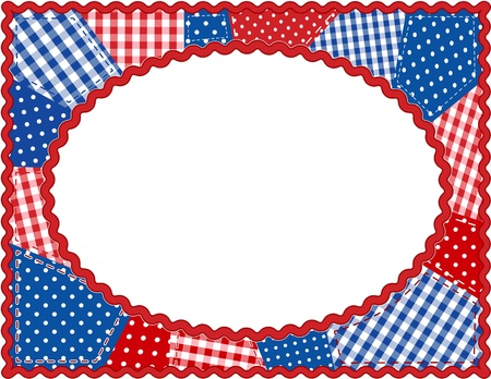 patchwork quilt: Patchwork Frame, Red, White and Blue Illustration