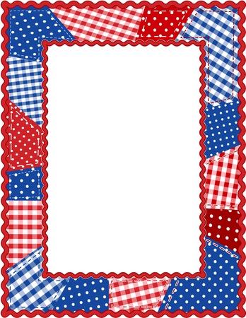 manta de retalhos: Patchwork Frame, Red, White and Blue Ilustra��o