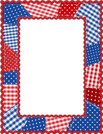 Patchwork Frame, Red, White and Blue Vector