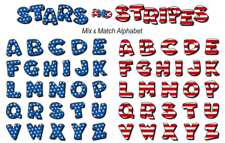 Alphabet, Mix and Match Stars and Stripes  Vector