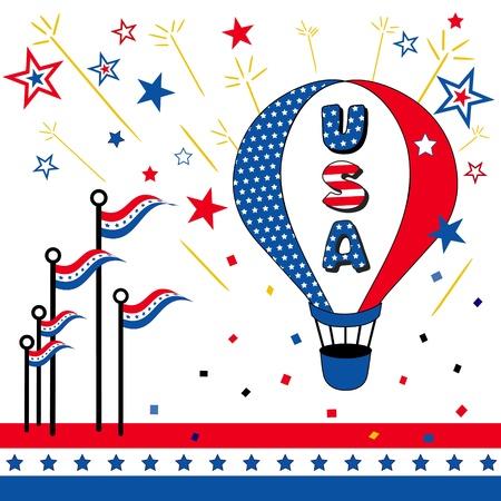 patriotic border: USA, Stars and Stripes, Hot Air Balloon