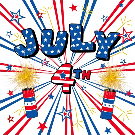 fourth of july: July 4 Stars, Stripes, Firecrackers