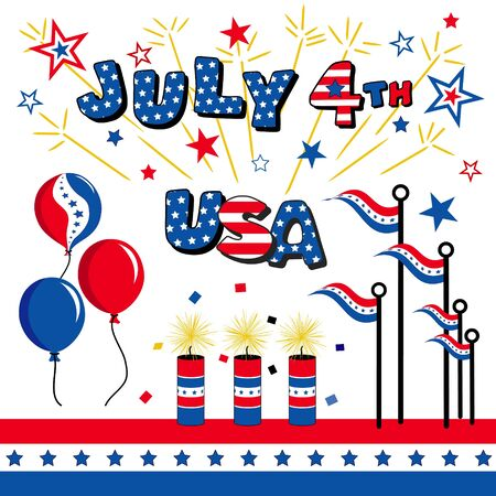 July 4 Stars and Stripes, USA, Balloons, Fireworks, Flags  Vector