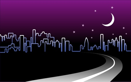 City Skyline Night Landscape Stock Vector - 13177256