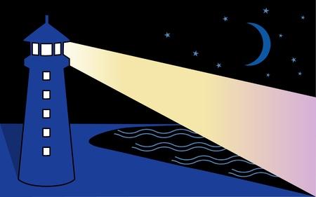 밤 해변 등대