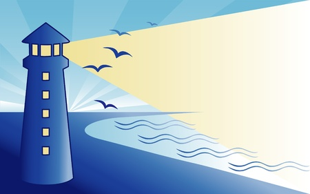 panoramic beach: Seaside Lighthouse at Dawn  Illustration