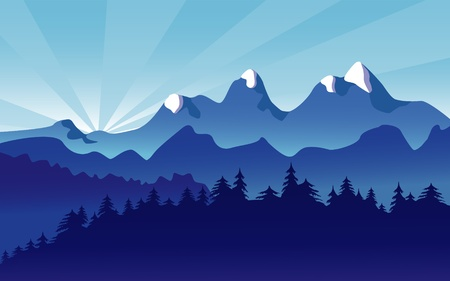 Mountain Landscape with Alpine Snow Vector