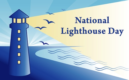 National Lighthouse Day August 7 Vector