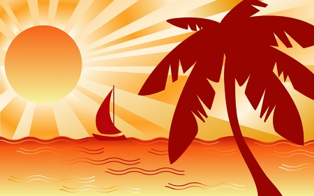 Hot Tropical Ocean Landscape Vector
