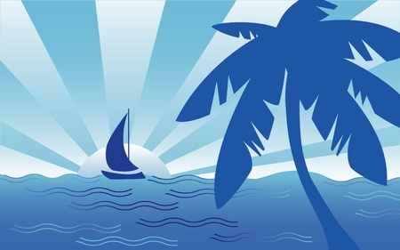 Cool Tropical Ocean Landscape Vector
