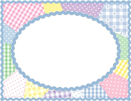 Pastel Patchwork Quilt Frame Illustration