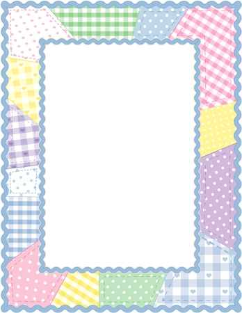stitchery: Pastel Patchwork Quilt Frame Illustration