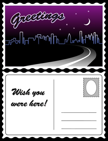City Night Skyline Travel Postcard Иллюстрация
