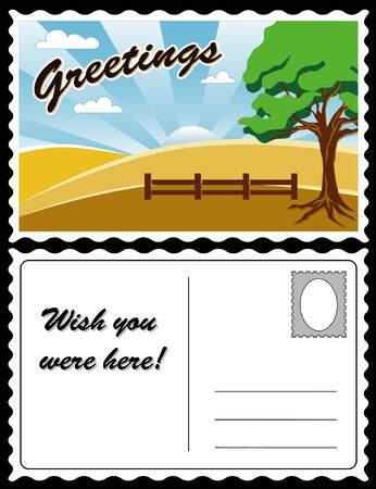 Country Landscape Travel Postcard  Vector