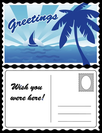 Cool Tropical Travel Postcard Иллюстрация