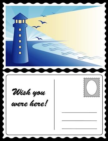 postcard: Lighthouse at Dawn Travel Postcard Illustration