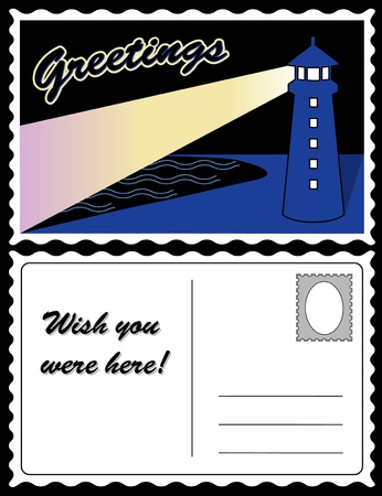 Lighthouse at Night Travel Postcard Vector