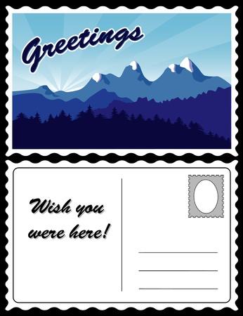 Mountain Landscape Travel Postcard Stock Vector - 13237557
