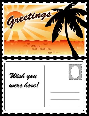 Tropical Landscape Travel Postcard Stock Vector - 13237559