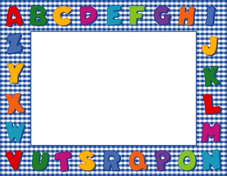 old letters: Gingham Alphabet Frame with Copy Space Illustration