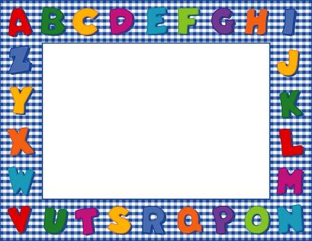 Gingham Alphabet Frame with Copy Space Иллюстрация