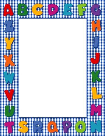 gingham: Gingham Alphabet Frame with Copy Space Illustration