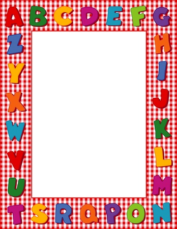 gingham: Gingham Alphabet Frame with with Copy Space