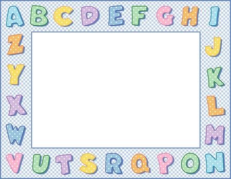 preschool poster: Pastel Polka Dot Alphabet Frame with Copy Space