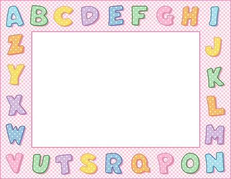 Pastel Polka Dot Alphabet Frame with Copy Space Stock Vector - 13285815